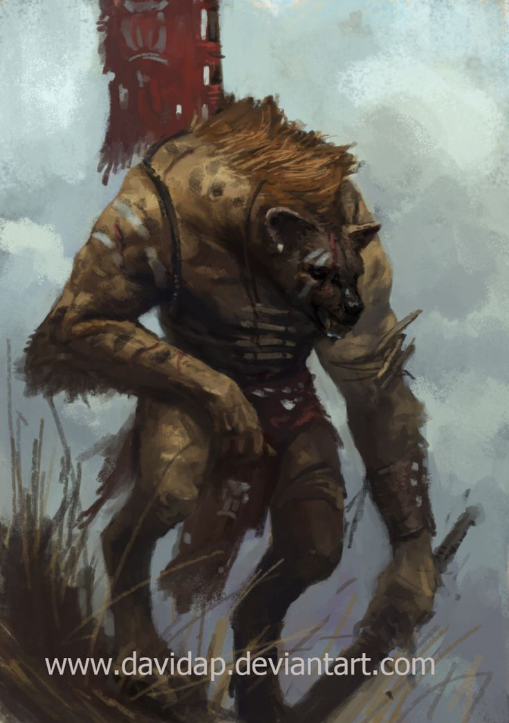 Knoll, the Knolls are a breed of Lycanthrope who can become Hyenas, they come from the African savanna and they're fierce and often more savage than any werewolf. Luke Staark hired Knolls as bounty hunters to take down Jackson Pride, Veda also encountered them once before With Jax on a mission and they defeated them with a great degree of struggle.