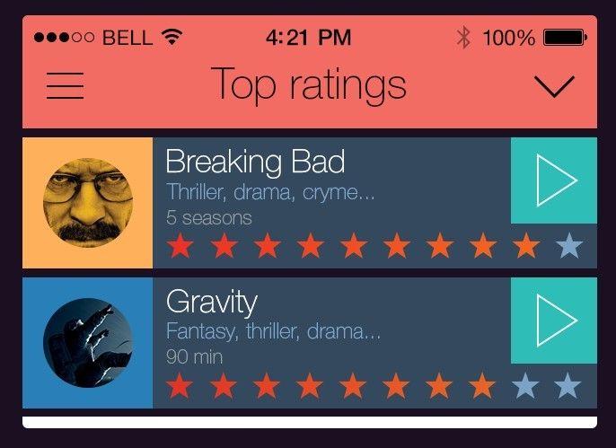 Cinema Guide App GUI For iOS 7 PSD
