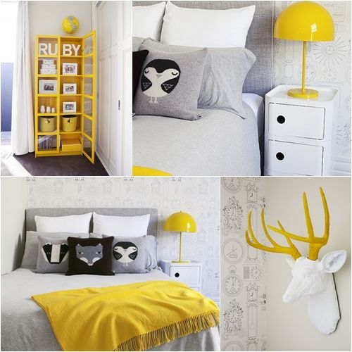 Love the yellow cabinet to store items! Want to do a pop of yellow in daughter's room.
