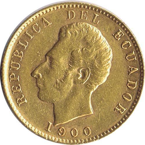 Moneda de oro 10 sucres Ecuador 1900 Antonio José.