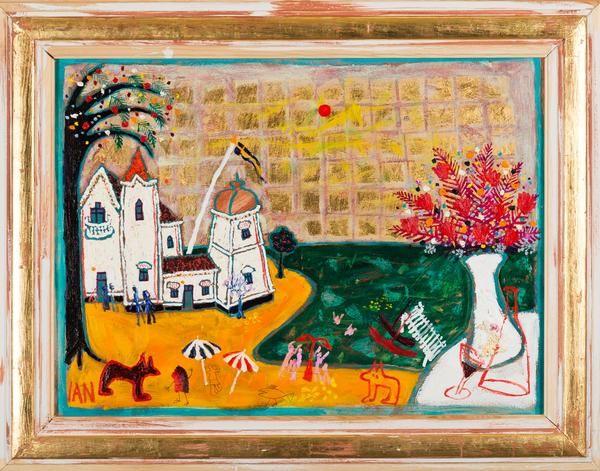 """Ian Rusth - """"På Straden"""" finns att köpa hos oss på Galleri Melefors / is available for purchase at Galleri Melefors #ianrusth #ian #rusth #art #swedish #artist #painting #oilpainting #interiordesign #design #decoration #home #goldframe #gold #frame #house #trees #illusion #dreams #fun #humour #forsale #konst #målning #tavla #oljemålning #olja #guld #guldram #ram #svenskkonstnär #konstnär #svensk #dröm #drömlandskap #rolig #humor #hus #träd #tillsalu #gallerimelefors #melefors"""