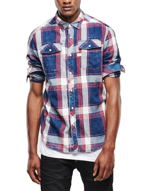 BLUE CHECK SHIRT WITH CHEST POCKETS