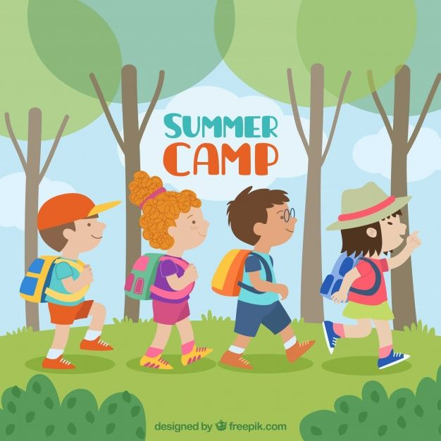 Download Summer Camp Background With Kids Walking For Free
