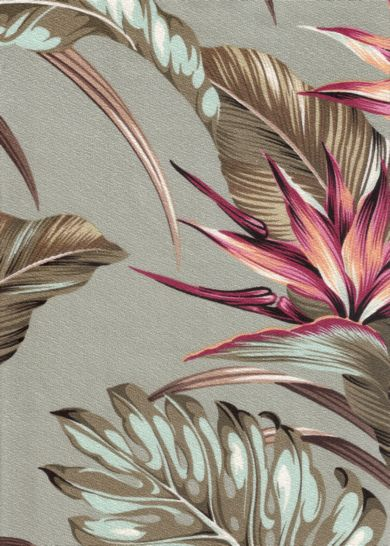 Mohala Sage Tropical Hawaiian Tropical Hawaiian leafy, bird of paradise bark crepe upholstery fabric.Add Discount code: (Pin10) in comment box at check out for 10% off sub total at BarkclothHawaii.com
