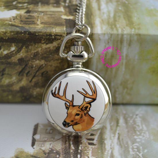Оптовая цена покупатель хорошее качество хороший новый серебряный красочные олень рисунок карманные часы ожерелье…