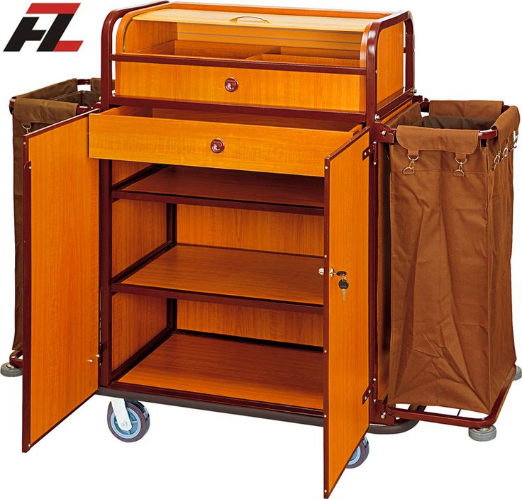 Hotel Housekeeping Cleaning Trolley with Cabinet-Housemaid Trolley