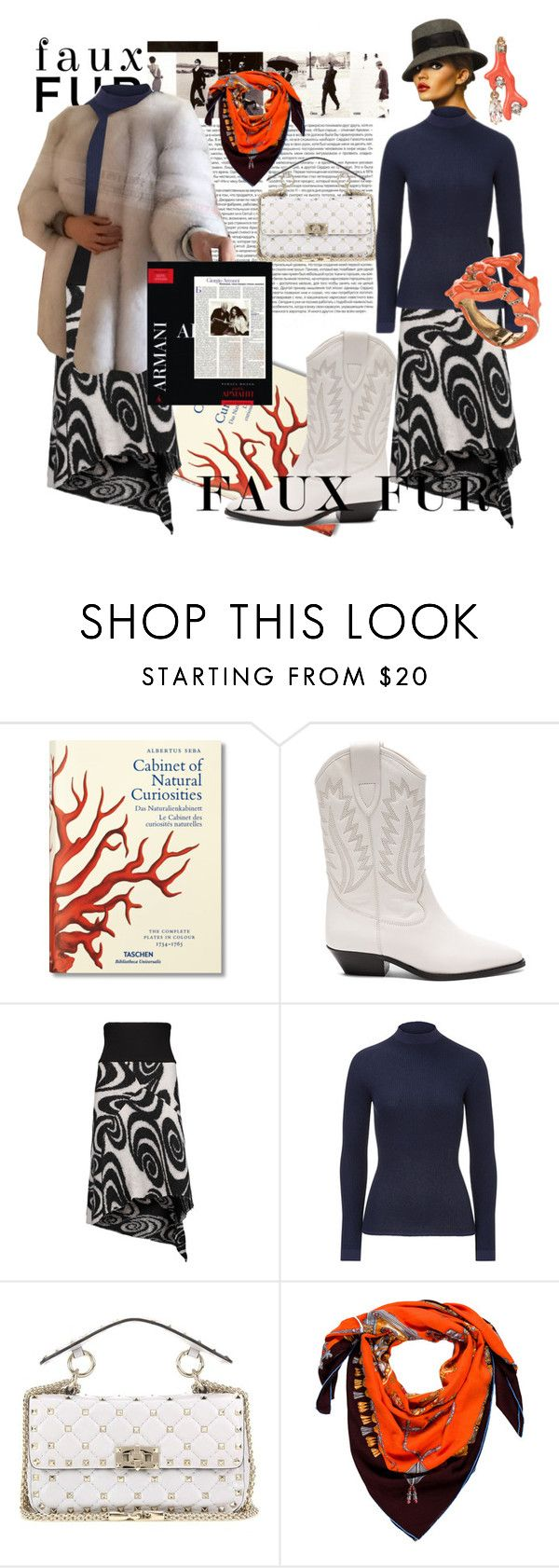 """""""ARMANI ABANDONED THE NATURAL FUR. AND YOU?"""" by m-kints ❤ liked on Polyvore featuring Taschen, Étoile Isabel Marant, Acne Studios, ESCADA, Valentino, Oscar de la Renta and Hermès"""