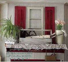 red shutters on the mantel, home decor, repurposing upcycling