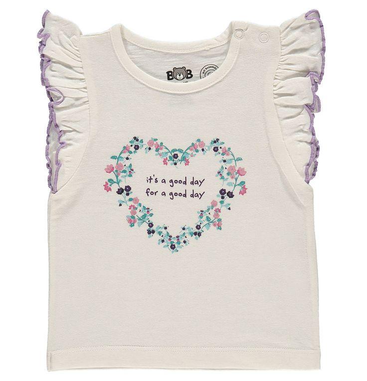 T-Shirt, Rüschenärmel, Print, Bio-Baumwolle, für Babys