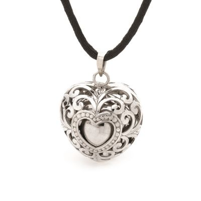 Harmony Ball - SILVER HEARTS LACE - A pretty filigree, heart shaped pendant keeps a traditional harmony ball securely inside. This pendant does not open.