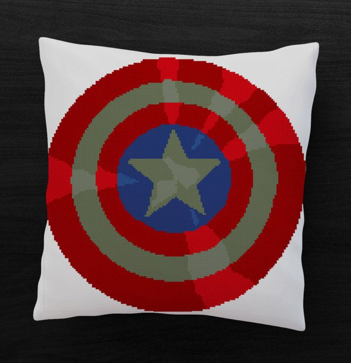 Shield Captain America Marvel Comics Superhero - Cross stitch PDF pattern - Instant digital download by Up2XStitch on Etsy