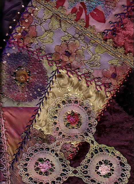 Detail of Crazy Quilt showing embroidery