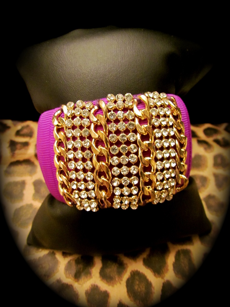 Chunky Bangle covered in hot pink fabric with gold chain accents $30  LuckyOneJewelry visit my FB page