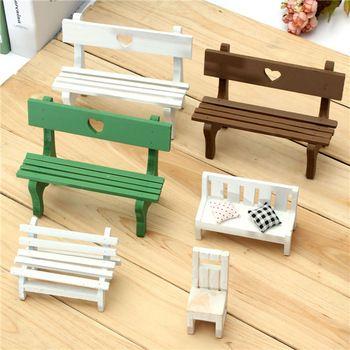 Многоцветный рисунок по желанию японский Zakka продуктовый мини стул скамья стул украшения деревянные реквизит съемки кукольный домик украшение