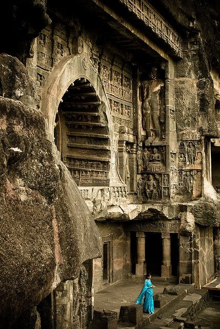 Ajanta caves, in the Aurangabad district of Maharashtra, India (source)