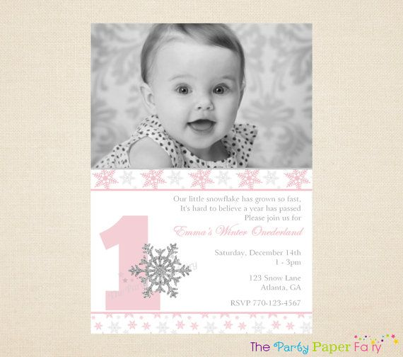 27 best winter onederland birthday party pink & grey images on, Birthday invitations