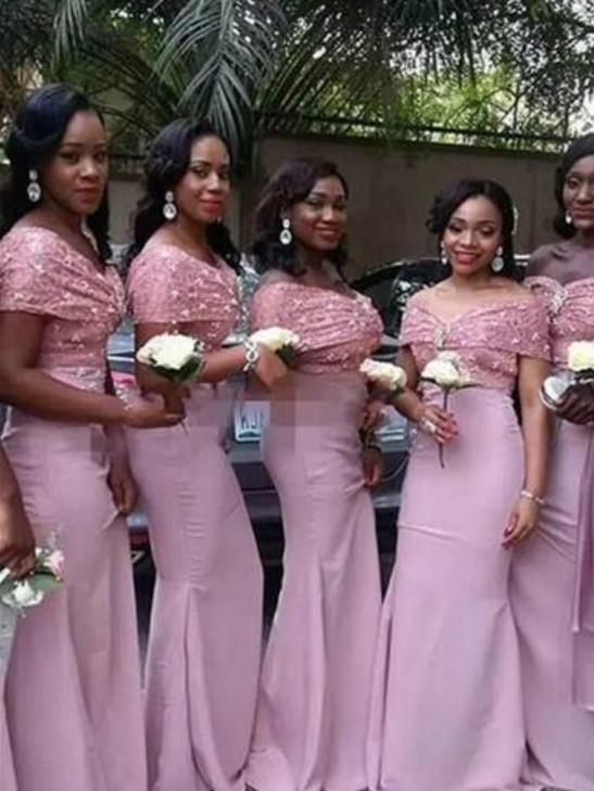 BohoProm Bridesmaid Dress Mermaid Off-Shoulder Floor-Length Satin Bridesmaid  Dresses HX0019 30f4efc58370