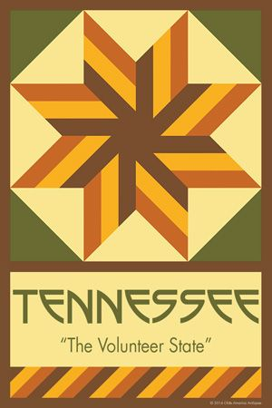 TENNESSEE quilt block.  Ready to sew. Single 4x6 block $4.95.