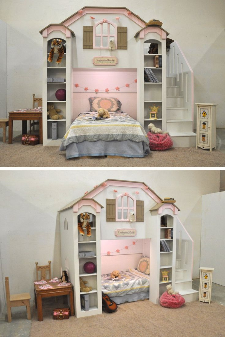 The McKenzie Bunk Bed is a very versatile design. It can be a traditional bunk bed, with one bed directly over the other, or you can have the bottom bunk perpendicular to the wall. Either way, this children's bunk bed is sure to please. It also works well as a loft bed, or even a playhouse. Click to learn more.
