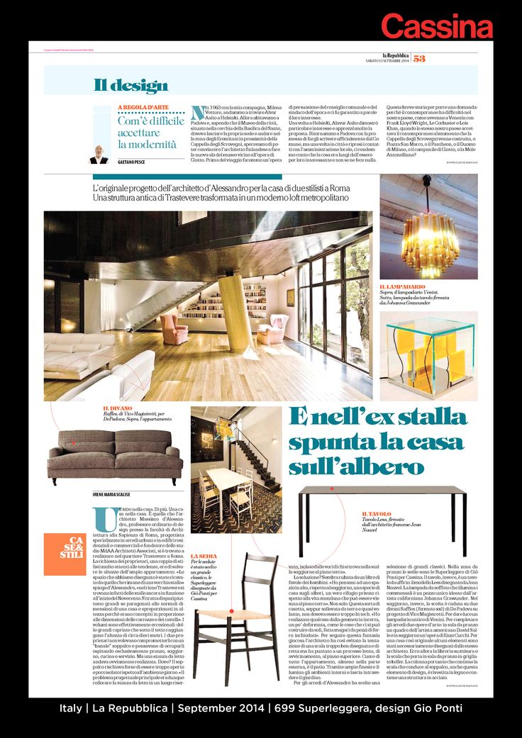 Italy | La Repubblica | September 2014 | 699 Superleggera, design Gio Ponti| Discover more on:http://cassina.com/it/collezione/sedie-e-poltroncine/699