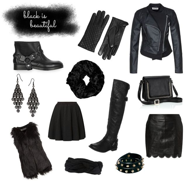 www.leonie-loewenherz.com | BLACK IS BEAUTIFUL  My favorite black clothing items and accessories for fall and winter:  boots, gloves, leather jackets, skirts, scarves, bracelets, bags,earrings and fake fur vests.  _ _ _ _ _  Meine liebsten Kleidungsstücke und Accessoires für Herbst und Winter:  Stiefel, Handschuhe, Lederjacken, Röcke, Schals, Armbänder, Taschen, Ohrringe und Fellwesten.