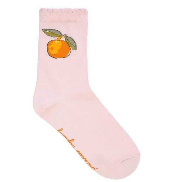 Orange Sock ($8.27) ❤ liked on Polyvore featuring intimates, hosiery, socks, accessories and orange socks