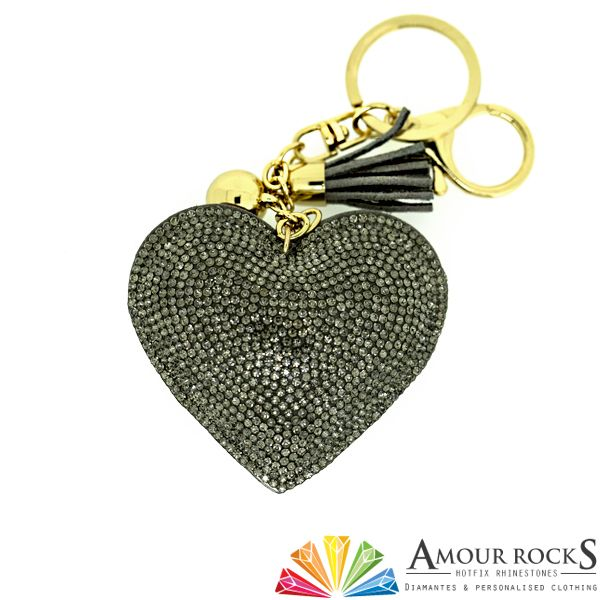 Black Crystal Cushion Love Heart Key Chain | Gift