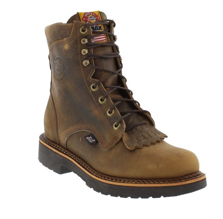 Justin Men's 8 Inch J-Max Rugged Tan Gaucho Lace Up Safety Toe Work Boot - The Justin J-Max 441 work boot is built for all day comfort. These boots offer maximum construction, maximum comfort and are ASTM electrical hazard rated. A ton of technology is packed within the NEW J-Max Double Comfort System. Features include Justin's J-Max removable insert with Justin Jel technology;