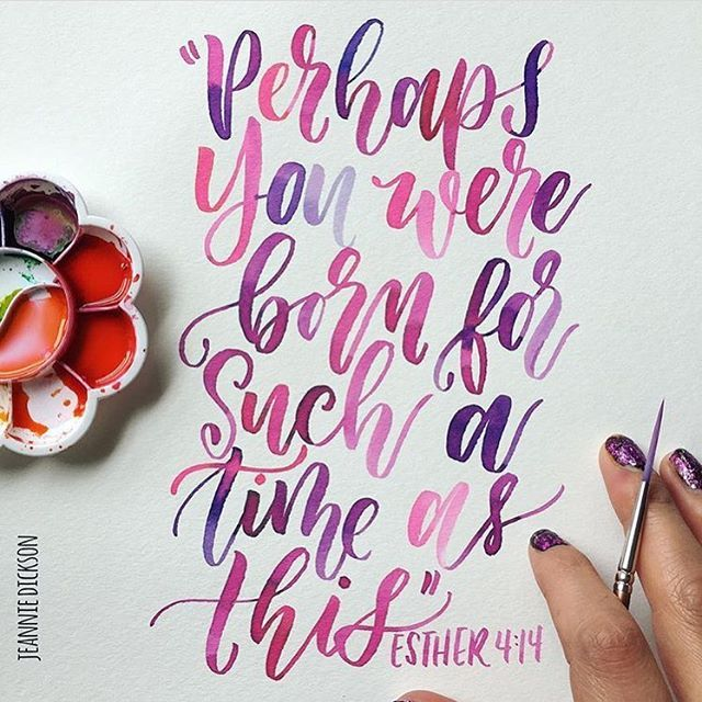 Perhaps you were born for such a time as this.  Esther 4:14 Beautiful bible lettering By @honeybopsdesigns #30daysofbiblelettering