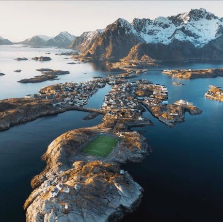 This football (soccer) pitch in the Lofoten Islands, Norway