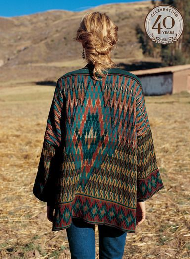 """Sundrenched desert shades are knit in floatless jacquard into finely etched diamond and flame motifs on this sensational pima cotton, baby alpaca and wool kimono.  An array of complex color variations including rust, turquoise, indigo, loden, ochre and navy play across the generously sized 28"""" knit jacket, easy to style and flattering to so many shapes."""