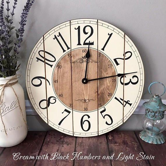 16 Inch Wooden Farmhouse Clock Arabic Numbers Rustic Wall Etsy Small Wall Clock Farmhouse Clocks Rustic Wall Clocks