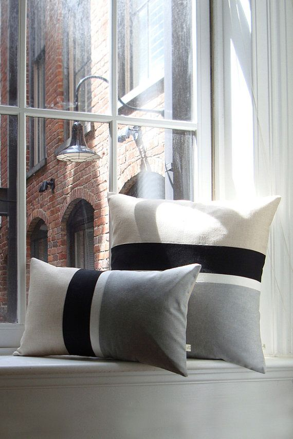 Gray Chambray Stripe Pillow Set of 2 -  Modern Home Decor by JillianReneDecor (Custom Colors Available)