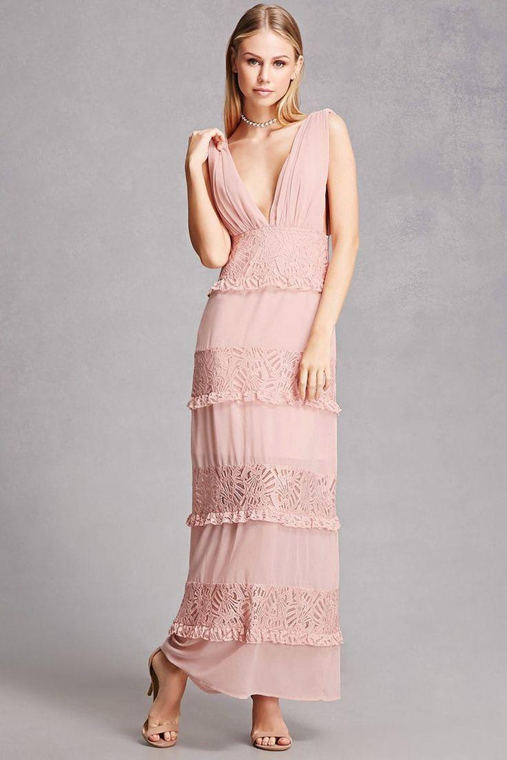 Soieblu Lace Ruffle Maxi Dress | Blush Bridesmaid Dresses | Pinterest
