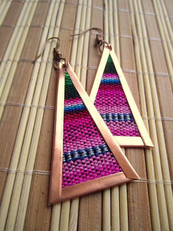 Statement Tribal Copper Earrings, Woven design, bohemian earrings. $13.50, via Etsy.