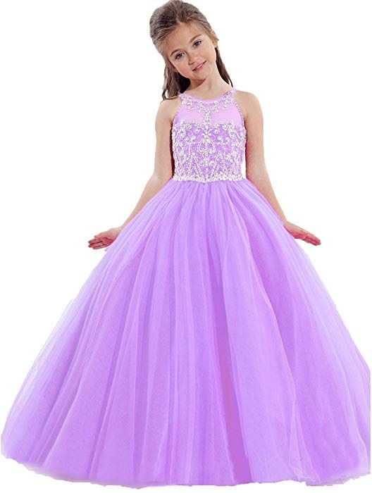 d604cc6023c72 Amazon.com: TaYan Little Girls Birthday Party Ball Gowns Beaded Kids  Pageant Dresses 6 US Purple: Clothing