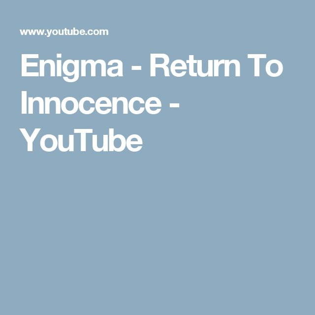 Enigma - Return To Innocence - YouTube
