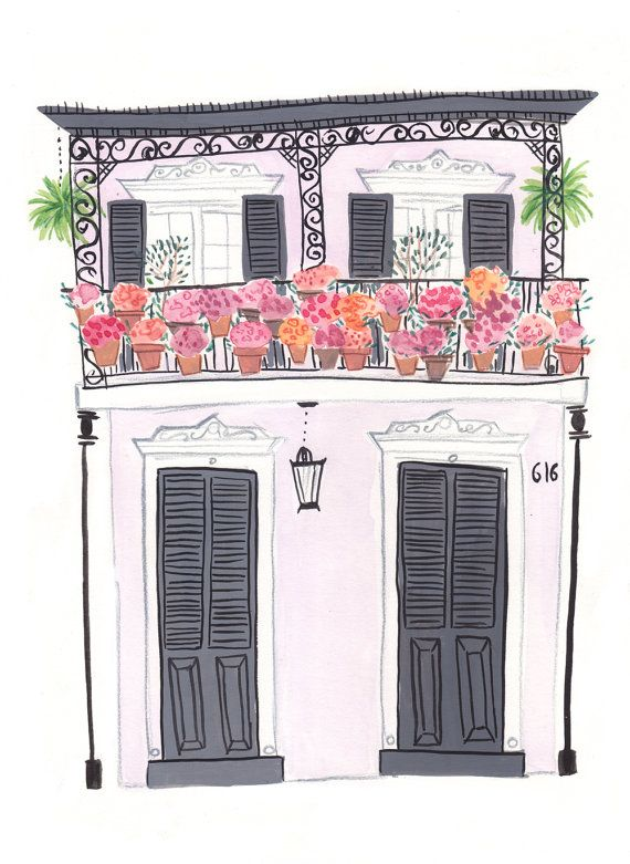New Orleans House with Flowers  A4 Archival Art Print by emmablock