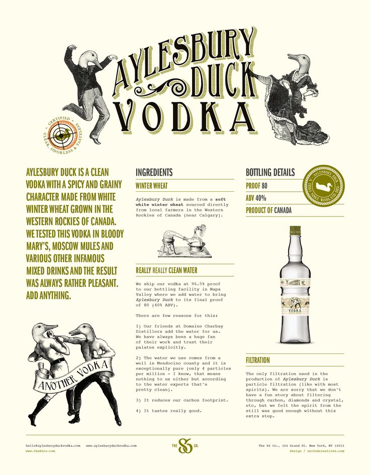 Sell sheet for Aylesbury Duck Vodka by United Creatives.