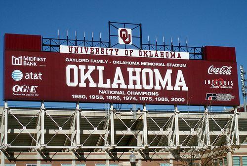 Scoreboard at Oklahoma University Sooners' Gaylord Family Memorial Stadium, Norman, Oklahoma
