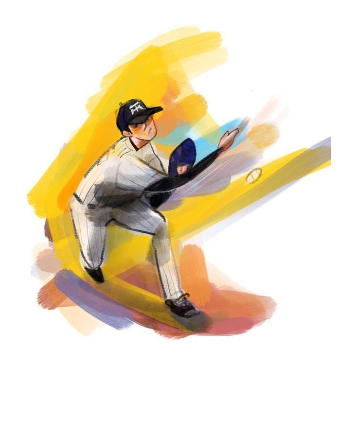 野球がはじまったど! #阪神タイガース#タイガース#プロ野球#batting#baseball#baseball #イラスト#digital#digitaldrawing #デジタル #portrait #ポートレート#iPadPro #Mac #portrait #painter #okayamatakatoshi #イラスト #illustration #drawing #art #絵 #おかやまたかとし