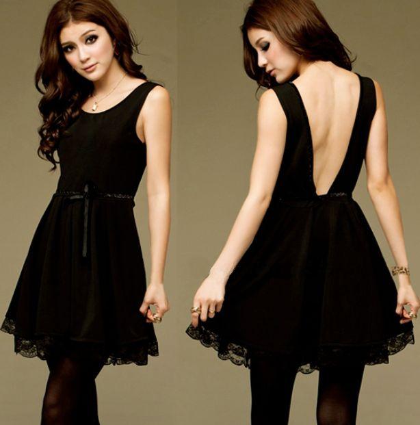 Little Black Dress Backless Lace Dress with a Satin Tie Front Belt (permanent fixture)  Price: TBA Shonz Fashion