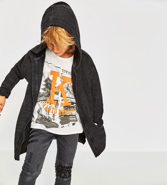 ZARA - KIDS - FADED TEXTURED JACKET WITH OPEN FRONT AND HOOD