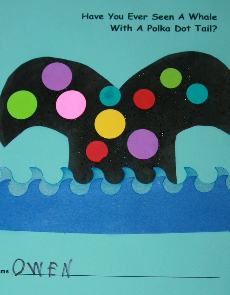 Whale nursery crafts : Whale with a polka dotted tail