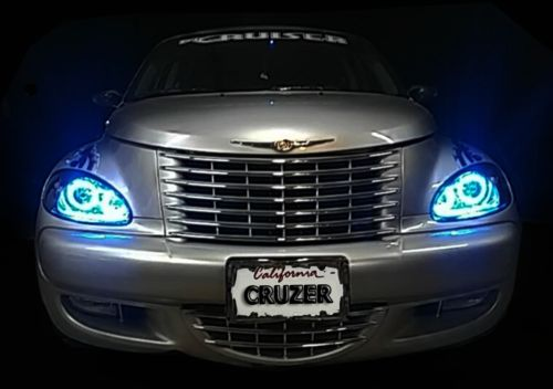 PT-Cruiser-HALO-Headlights-2001-2005-Pair-Set-with-Multi-Color-LED-Angel-Eyes