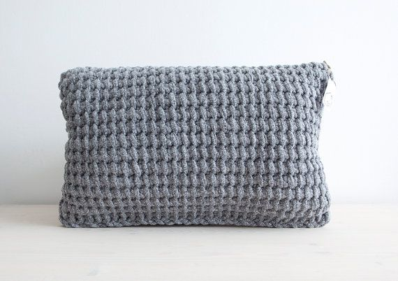 Black & white melee crocheted pillow - Made by Home Sweet Home Design (Etsy shop)