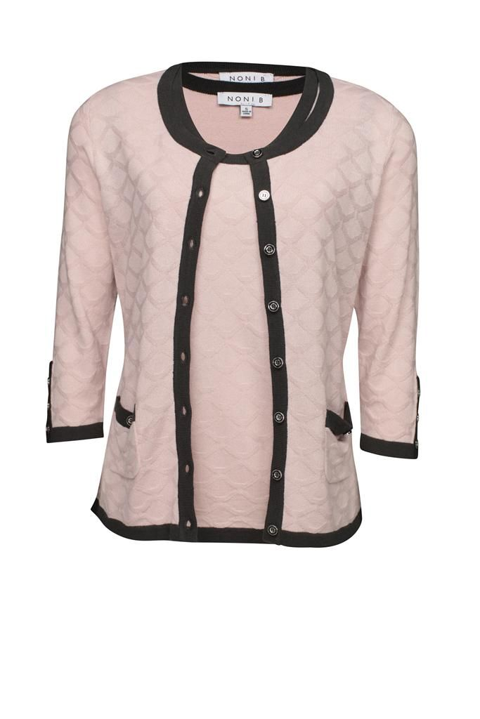 Noni B Jacquard Twinset 3/4 Sleeve $129.95 AUD  3/4 Sleeve Twinset, Button front cardigan 2 pockets with buttons on arms, matching cami 100% Acrylic Item Code: 047963