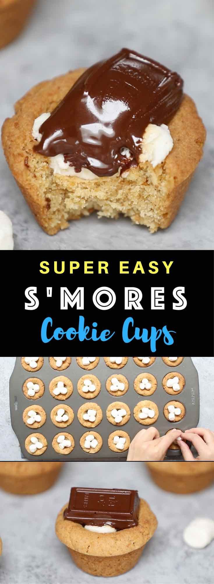 S'mores Cookie Cups – The perfect s'mores recipe that's one of my favorite! Hot Graham cracker cookie cups baked in mini muffin tin, filled with marshmallow, and then topped with semi-sweet Baker's or Hershey's chocolate bars, boiled to gooey perfection. They melt in your mouth! So Yummy! All you need is only a few simple ingredients. Fun recipe to make with kids. Quick and Easy recipe that takes only 25 minutes. Dessert, Party Food. Vegetarian. Video recipe. | http://Tipbuzz.com