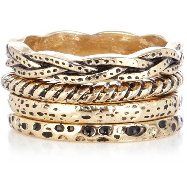 Warehouse Mixed Multi Ring Stack (9.47 CAD) ❤ liked on Polyvore featuring jewelry, rings, bracelets, accessories, pulseiras, metallics, stackable rings, metal jewelry, warehouse jewelry and stackers jewelry