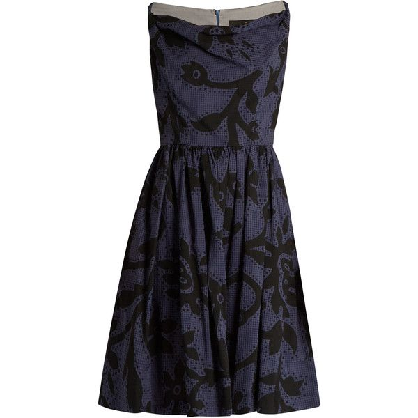 Vivienne Westwood Anglomania Twisted Monroe printed skater dress (310 CAD) ❤ liked on Polyvore featuring dresses, blue multi, skater dresses, shirring dress, skater skirt dress, flared skirt and shirred dress